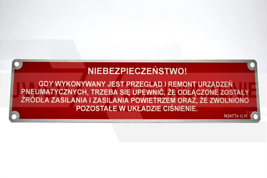 tabliczka aluminiowa - UWSP ZJEDNOCZENIE Toruń