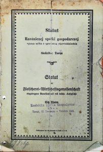 1919 - pierwszy statut spółdzielni - UWSP ZJEDNOCZENIE Toruń