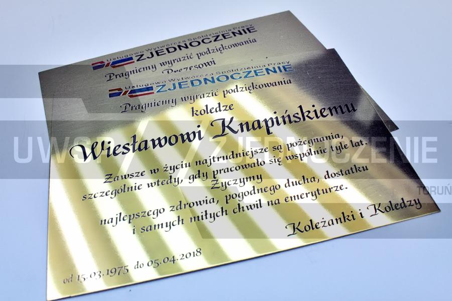Tabliczka - Plakieta pamiątkowa - Mosiądz - UWSP ZJEDNOCZENIE Toruń