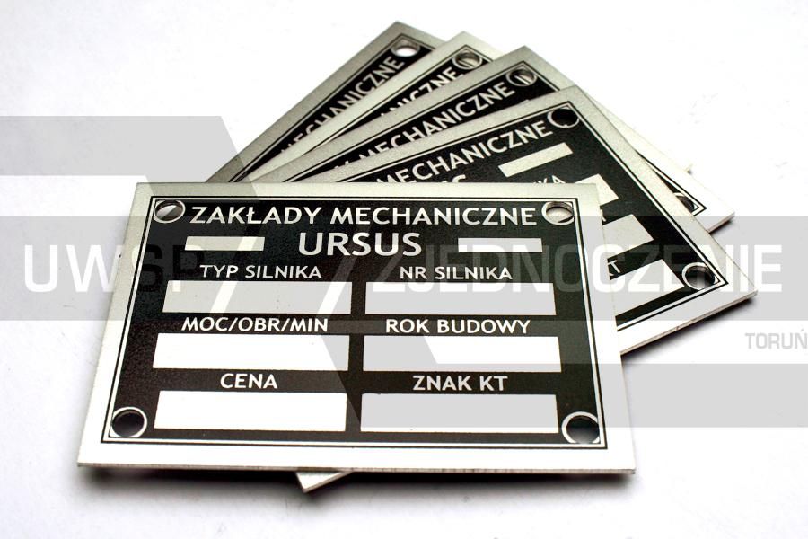 Tabliczka URSUS - aluminium - UWSP ZJEDNOCZENIE Toruń