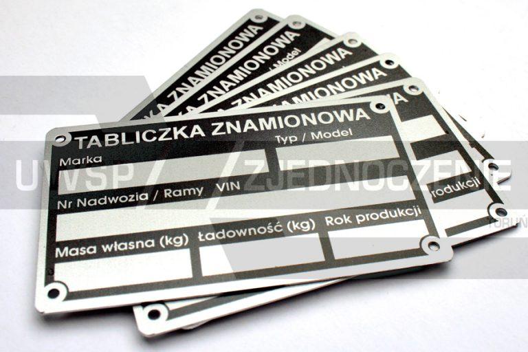 Tabliczka zastępcza - aluminium matowane - UWSP ZJEDNOCZENIE Toruń