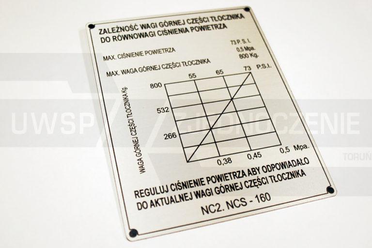 tabliczka znamionowa aluminiowa - UWSP ZJEDNOCZENIE Toruń