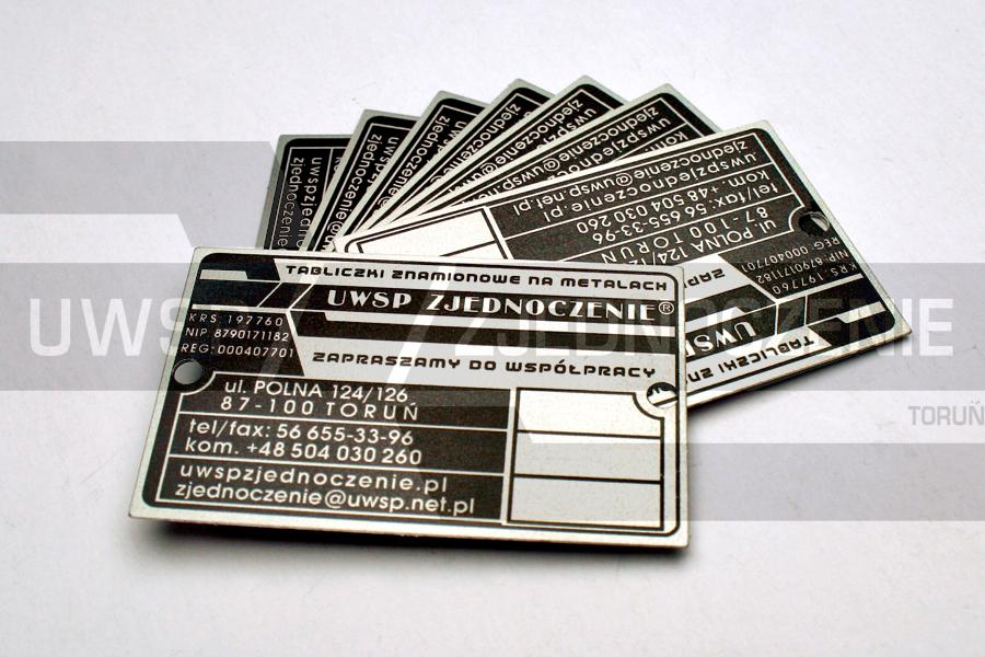 Tabliczka znamionowa - aluminium matowane - UWSP ZJEDNOCZENIE Toruń
