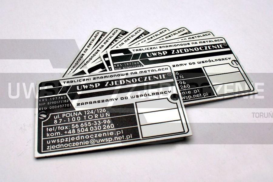 Tabliczki znamionowe - aluminium białe - UWSP ZJEDNOCZENIE Toruń