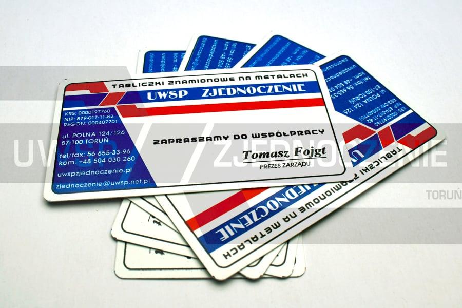 wizytówka na aluminium białym - 3 kolory - UWSP ZJEDNOCZENIE Toruń